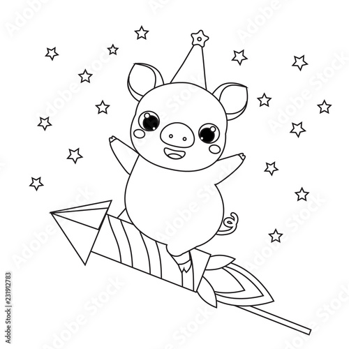 Coloring Page 2019 New Year Theme Cartoon Pig On Firework Rocket
