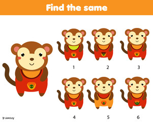 Find the same pictures children educational game. Find two identical monkey