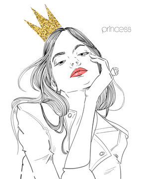 young beautiful woman with crown