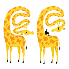 Vector illustration with giraffe and sitting bearded man. Funny long neck african animal