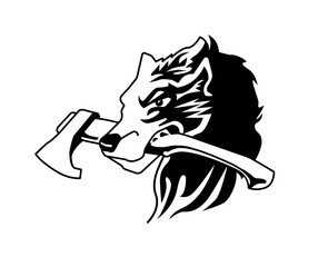 Wolf and Ax Head Logo Emblem