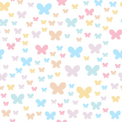 Delicate colors are well suited for children's parties and things. Seamless background with butterflies.