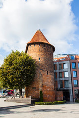 Ancient Tower on Gdansk Street. Poland