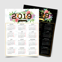 2019 calendar with watercolor floral elements