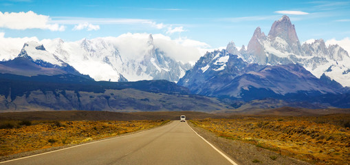 Views from highway at peaks of Andes