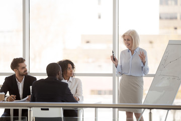 Smiling mature businesswoman give flipchart presentation in office, talking with diverse interns at company briefing, middle aged mentor or coach train employees, presenting plan on whiteboard