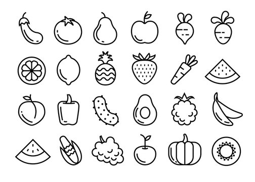 Fruits and vegetables set. Vector illustration.