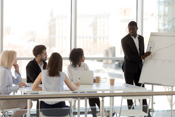 Serious millennial black mentor present company business plan to diverse employees or workers, African American mentor coaching or training internes at briefing, making flipchart presentation