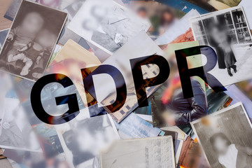 GDPR inscription, on the background of photos