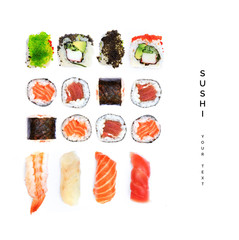 Printed roller blinds Sushi bar Pattern with sushi. Food abstract background. Sushi on the white background.