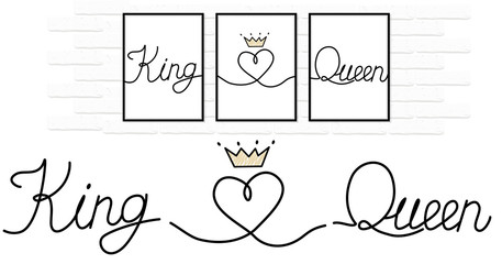 King love Queen written black ink on white pure paper. Lines connected to little heart.  Couple design decoration with crown.  Minimal vector wedding logo. Canvas printing. Gift for Valentine's Day
