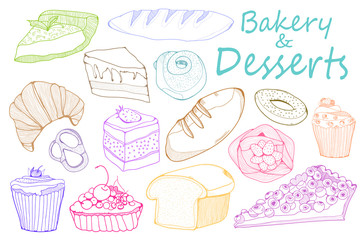 Hand drawn bakery and desserts. Colored graphic vector set
