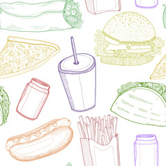 Hand drawn graphic fastfood. Colored vector seamless pattern