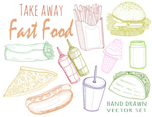 Hand drawn graphic fastfood. Colored vector set