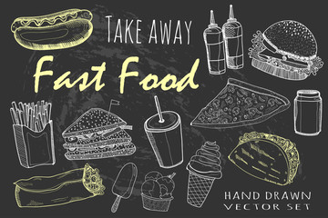 Hand drawn fastfood. Chalk style graphic vector set