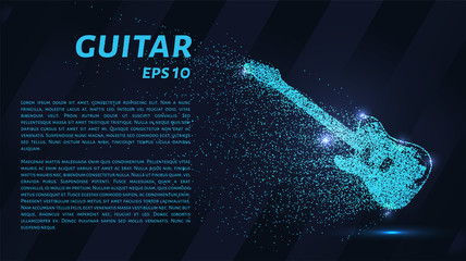 Guitar blue points of light. Electric guitar vector illustration.