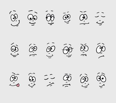 Cartoon faces emotions. Set of different hand drawing funny sad crazy stupid drowsy faces.