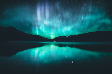 Foto op Textielframe Noorderlicht Northern lights in the Canadian Rockies, Jasper