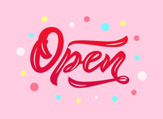 Word Open modern calligraphy lettering on pink background. Isolated.