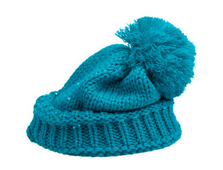 New Knit Wool Hat with Pom Pom isolated on white background