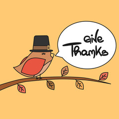 cute lovely hand drawn lettering give thanks vector greeting card with little bird
