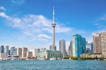 Aluminium Prints Toronto Downtown Toronto With CN Tower Cityscape on Lake Ontario