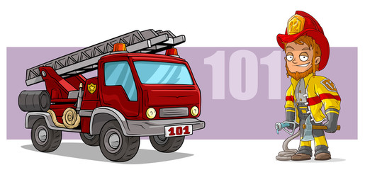 Cartoon firefighter character and red fire truck