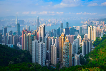 Hong Kong skyscrapers skyline cityscape view Fotomurales