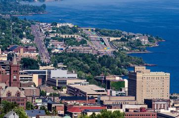 Hazy aerial view of Duluth Minnesota harbor on a sunny summer day