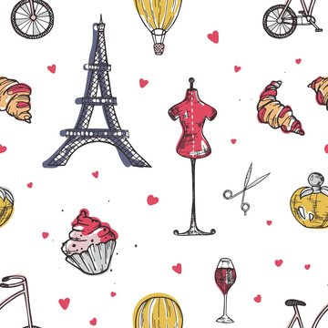 Seamless pattern with Paris and France elements - perfume, french croissant, Eiffel Tower, mannequin, glass of wine hand drawn in doodle style on white background