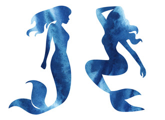 mermaid watercolor silhouette illustration on white background.