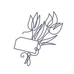 Continuous one line drawing. Beautiful tulips flower logo. Vector illustration. Concept for logo, card, banner, poster, flyer