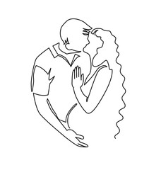 Continuous single drawn one line of enamored conjugal pregnant couple drawn by hand picture silhouette. One line art vector illustration. Character of a pregnant woman with her husband.