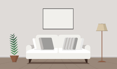 Living room flat Interior. Design with couch and picture. Vector background.