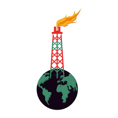 tower of plant oil extraction with world planet
