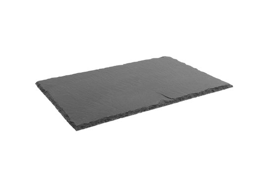 Rectangular black textured slate board, isolated on white background perspective view