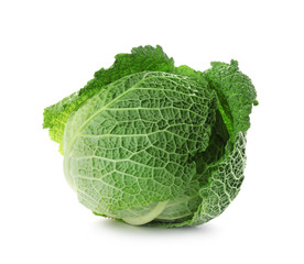 Fresh green savoy cabbage on white background