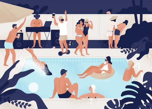 Young men and women having fun at outdoor or open-air swimming pool party. People diving, floating in rubber ring, dancing, walking, talking. Modern colorful vector illustration in flat cartoon style.