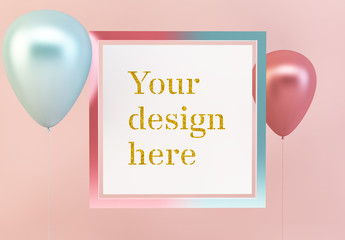 Square Frame with Balloons Mockup