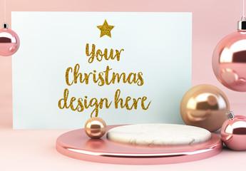 Horizontal Card and Ornaments Mockup