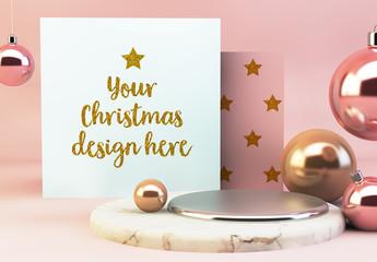 Square Card and Ornaments Mockup