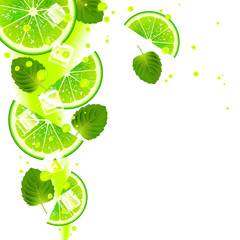 Lime with Mint Leaves and Splashes of Juice