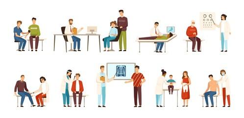 Collection of people visiting various doctors or physicians - therapist, gastroenterologist, ophthalmologist, neurologist, otolaryngologist, surgeon, pediatrician, dermatologist. Vector illustration.