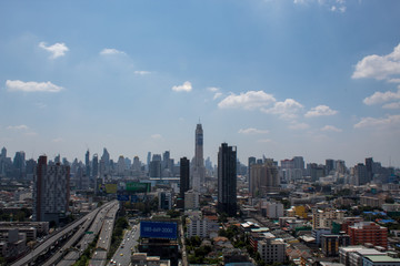 Bangkok thailand - October 30 ,2018 : top view of buiding city scape in Bangkok, Thailand