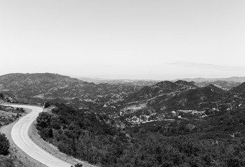 Mulholland Highway near Rocky Oaks Park in black and white