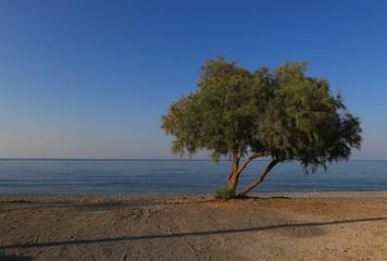 Scenery of Maleme beach on Crete, Greece. sunny day sunny day at the beach on Crete.