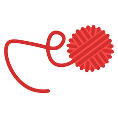 Threads. Tangle. Vector illustration of a tangle of red thread. Hand drawn tangle of thread.