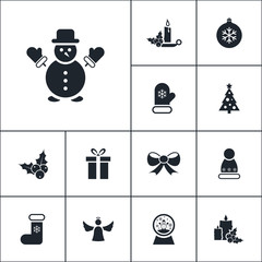 Vector set of winter icons. Simple christmas elements illustration. Xmas symbols design from holiday collection. Can be used in web and mobile.