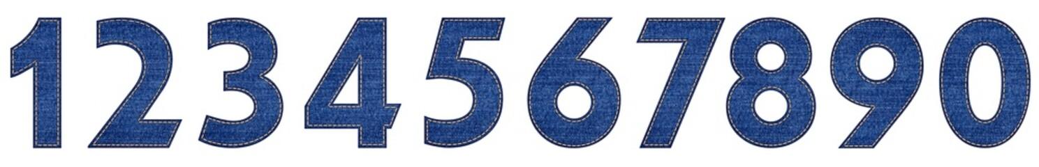 denim blue jeans letter number set 1 to 0 Wall mural
