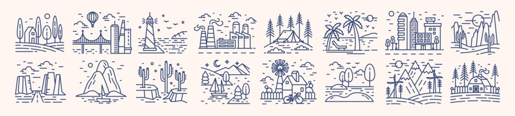 Fotorollo Weiß Collection of picturesque landscape icons or symbols drawn with contour lines on light background. Bundle of beautiful linear natural sceneries. Monochrome vector illustration in lineart style.